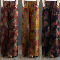 ZANZEA UK Womens Casual Loose Long Trousers Floral Printed Wide Leg Baggy Pants
