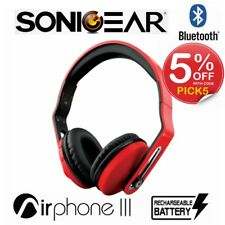 Wireless Headphones SonicGear Airphone III Bluetooth Stereo Headset Foldable Red