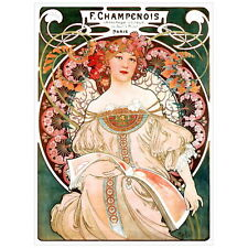 F Champenois Advertising Poster by Alphonse Mucha Deco Magnet, 1897 Art Nouveau