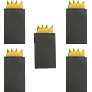 5 PCS Men Classic 4 Folds Handkerchief Wedding Business Pre-folded Pocket Square