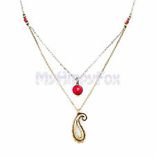 Lucky Brand Gold & Silver Tone Double Layer Red Stone & Paisley Pendant Necklace