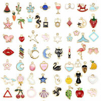 60pcs Assorted Styles Gold Color Plated Enamel Charm Pendants for DIY Jewelry