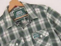 RP2200 Superdry Jpn Camisa MANGA CORTA Top Verde Cuadros Original PREMIUM Talla