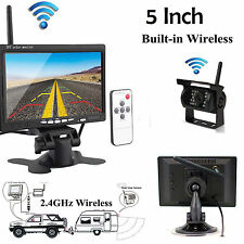 """5"""" HD TFT Monitor+2.4G Wireless Back Up Camera Kit For Bus Truck Trailer US STOC"""