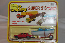 1970's Road Champs  Super 2's Mercedes Sedan with Boat, Red Mint on Card