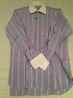 Vtg TURNBULL & ASSER Mens Red & Blue Striped Cotton Dress Shirt Size 15
