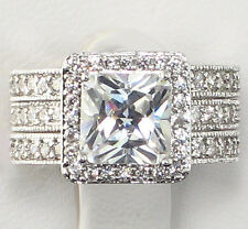 3.8 CT Princess Cut CZ ETERNITY BAND Bridal Wedding 3 PC. Ring Set - SIZE 7