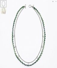 Brand NEW Ann Taylor Cord and Chain Double Strand Necklace Silver/Green