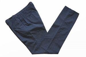 PT01 Trousers Washed blue plaid, flat front, cotton/nylon polyamide