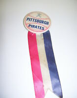VINTAGE PITTSBURGH PIRATES PINBACK BUTTON WITH RIBBON RED WHITE AND BLUE