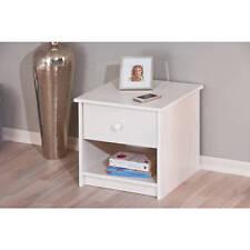 Chevet meuble de rangement table de nuit avec tiroir et niche pin massif BLANC