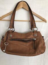 "Medium FOSSIL Canvas Leather Purse Bag Handbag 13.5x8x4""Soft Satchel"