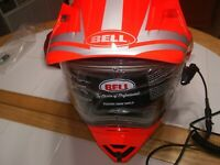 Bell Adult Orange/Silver Dual Lens MX-9 Adventure Snowmobile Helmet Snocross 2XL