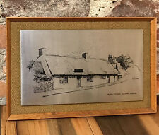 Vintage Picture Burns Cottage Framed Stainless Steel Alloway Ayshire England