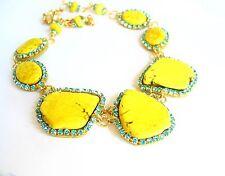 Turquoise Rhinestone statement gemstone slab necklace earrings yellow gold tone