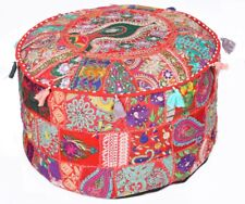 "Red 22"" x 14"" Large Handmade Round Stool/Ottoman Pouf Cover Seating Throw Decor"