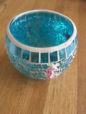 Seaside Theme Candle Holder Clear, With Blue Tinted Glass