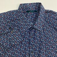 Perry Ellis Button Up Shirt Mens XXL Blue Floral Long Sleeve Casual