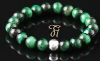 Tigerauge 925er sterling Silber Armband Bracelet Perlenarmband grün 8mm