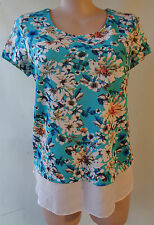 Crossroads size 16 lovely blue floral print top short sleeve