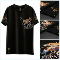 Men's Embroidered Dragon Tops Short Sleeve T Shirt Crew Neck Pullover Casual L