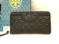 Authentic New Tory Burch Fleming Zip Continental Wallet Black Quilt Leather+Box
