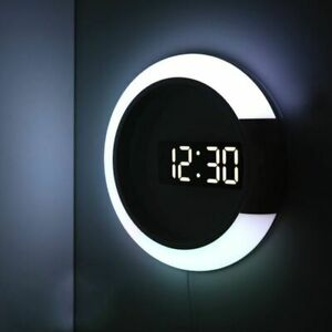 Digital LED Hollow 3D Wall Clock Table Watch Nightlight Modern Home Decorations