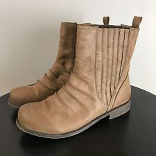 MTNG Brand Belgrado Boot SZ 8 / 38 Ruched Burnished Faux Leather Flat Slip On