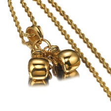 """Pendant Necklace with 24"""" Rope Chain Men Gold Punk Stainless Steel Boxing Glove"""