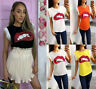 Women's Ladies Lips Sequin Print Frill Lace Trim Mesh Sleeve Summer T-Shirt Top