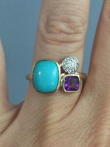 10KT Sleeping Turquoise, Amethyst & White Topaz Ring Size 7 $549 Retail