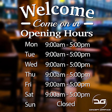 More details for opening hours personalised  shop times window wall sign vinyl decal sticker