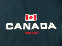 Toronto Canada T-Shirt Size XL Navy Blue Embroidered Double Stitch