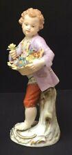 Meissen Gärtnerjunge mit Blumenkorb um 1800 1. Wahl Figur Porzellan Sammlerstück