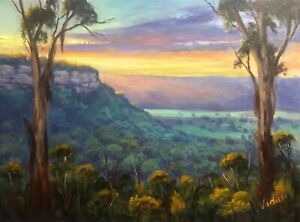 Original oil painting - Sunset at Shipley Plateau Blue Mountains by Vidal