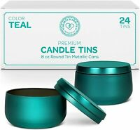 Teal Tin Cans With Lids | 8oz, 24Pack for Candles, Arts & Crafts, Jewelry & more