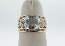 Natural Blue Aquamarine Genuine Diamonds Solid 14K Yellow Gold Ring FREE Sizing