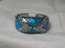 Silver Inlaid Blue Opal Ring, Clear Pave Stones, Size 6, Faux Opal, Geometric