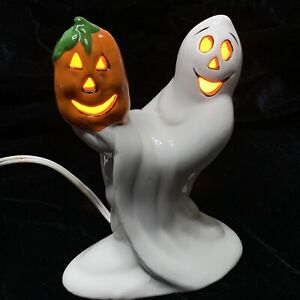 "Vintage Ceramic Ghost with Pumpkin Jack O Lantern Light Up Mold 6"" Tall W/ bulb"
