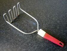 VINTAGE KITCHEN UTENSIL STAINLESS STEEL POTATO MASHER with Red Plastic Handle
