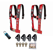 """Pro Armor 5 Point 3"""" Padded Seat Harness Pair Mount Kit Bypass Red Maverick X3"""