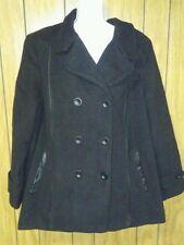Croft & Barrow Double Breasted Wool blend Pea Coat Womens Plus Size 2x NEW Black