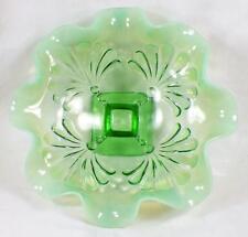 Beaded Fans Bowl Green Opalescent Glass Early American Pattern Jefferson 211