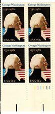 Scott 1952 20¢ George Washington Plate block of 4 MNH Free Shipping!!!