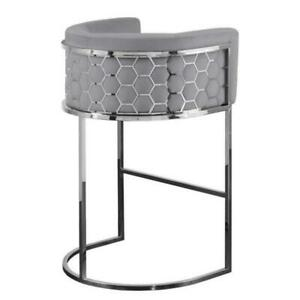 Luxury Geo Grey Velvet Silver Honeycomb Metal Bar Stool Tub Chair Seat