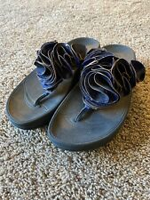 Ladies Fit Flop Frou Sandal Shoe Blue Leather SN 393-292 US 6 EU 37 UK 4 GUC