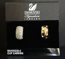 NEW SWAROVSKI REVERSIBLE CLIP ON GOLD SILVER AND CRYSTAL EARRINGS With Card/tag