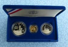 Proof Liberty 3-Coin Set, 1986 W $5 .24 oz Gold, Silver Dollar & 50C, Box & COA