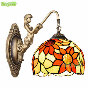 European Tiffany Stained Glass Wall Sconce Wall Lamp Sun Flower Fixture Lighting