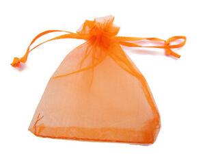 50 sacchetti in organza misure 9 x 7 mm colore arancione
